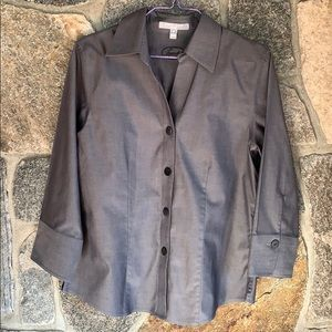 Foxcroft Non-Iron fitted Gray Blouse